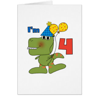 Little Dino 4th Birthday Tshirts and Gifts Greeting Card
