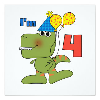 Little Dino 4th Birthday Tshirts and Gifts 5.25x5.25 Square Paper Invitation Card
