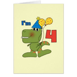 Little Dino 4th Birthday Tshirts and Gifts Note Card