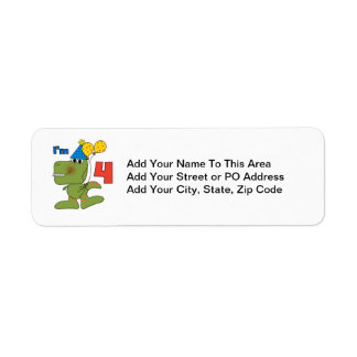 Little Dino 4th Birthday Tshirts and Gifts Return Address Label