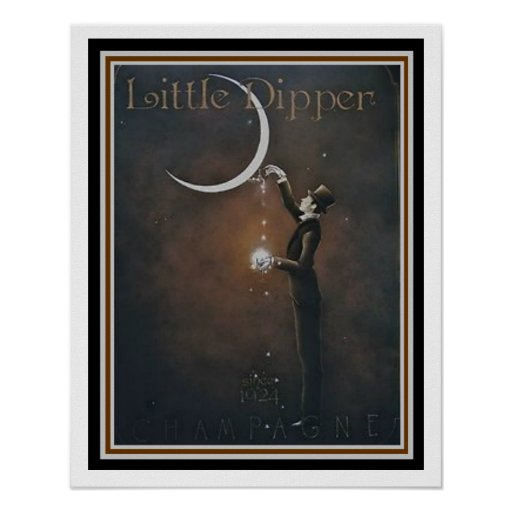 Little Dipper Champagne Vintage Ad Poster 16 x