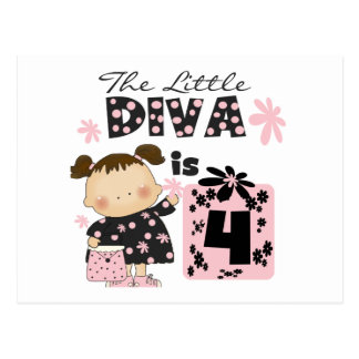 Little Diva 4th Birthday  Tshirts and Gifts Postcard