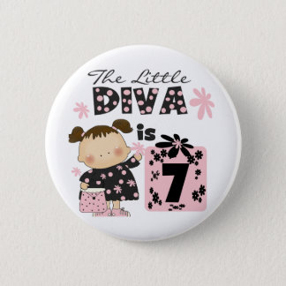 Little Diva 7th Birthday Tshirts and Gifts 6 Cm Round Badge