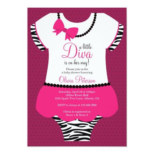 Little Diva Baby Shower Invitation, Zebra, Pink Card