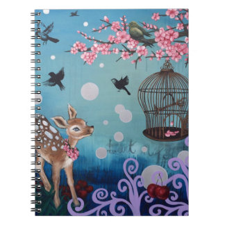 Little Doe with Cherry Blossoms Spiral Notebook