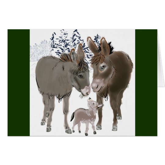 Little Donkey at Christmas Card