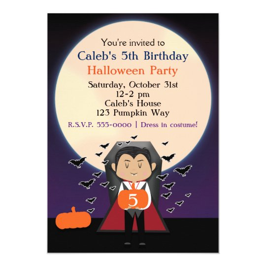 Little Dracula Halloween Birthday Party Invitation