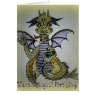 Little Dragon Buttercup. Birthday Card. Greeting Card