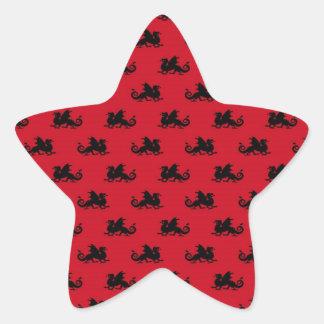 Little Dragons on Red Background Star Sticker