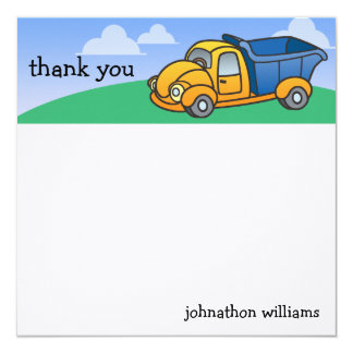 Little Dump Truck Personalized Thank You 13 Cm X 13 Cm Square Invitation Card