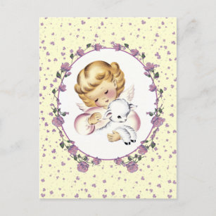 Happy first easter gifts gift ideas zazzle uk little easter angel with lamb easter postcards negle Images