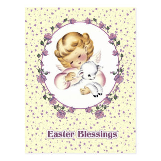 Little Easter Angel with Lamb. Easter Postcards