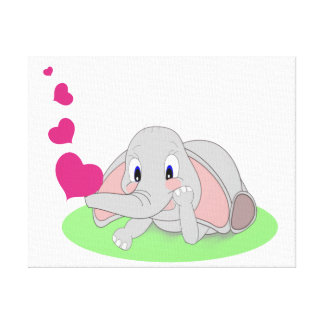 Little Elephant Blowing Pink Hearts Canvas Prints