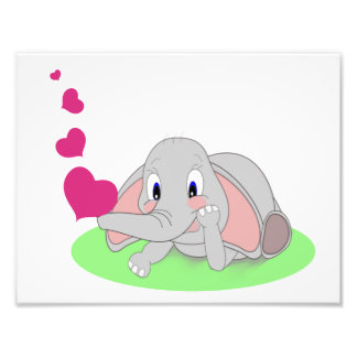 Little Elephant Blowing Pink Hearts Art Photo