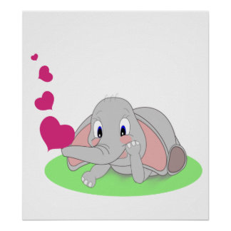 Little Elephant Blowing Pink Hearts Poster