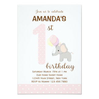 Little Elephant First Birthday Invitation (Pink)