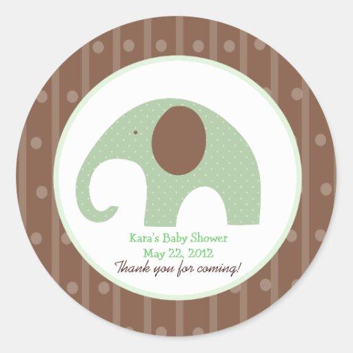 Little Elephant (Green) Custom Favour Sticker