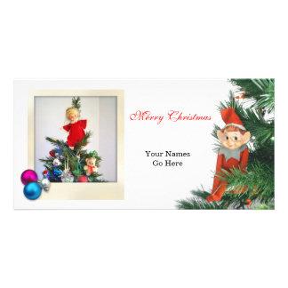 Little Elf Christmas with ornaments Custom Photo Card