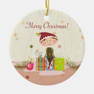 Little Elf-Girl and Christmas Presents Christmas Ornament