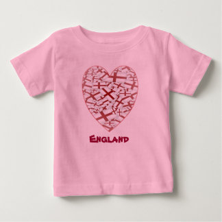 Little England Fan Flag Design - Heart Baby T-Shirt