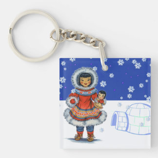 Little Eskimo Girl With Doll Igloo and Snow Key Ring