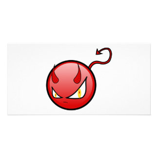 Little Evil Round Devil with an Arrow Tail Personalized Photo Card
