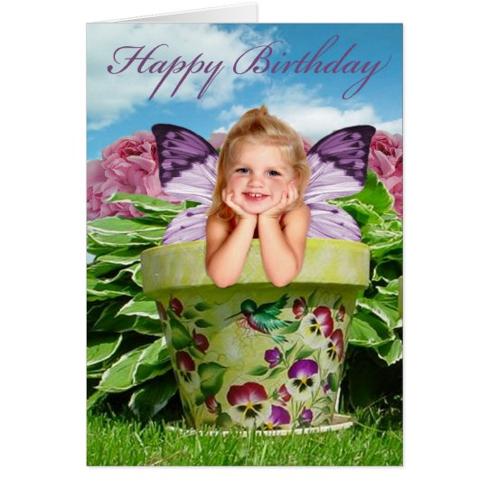 LITTLE FAIRY GIRL IN FLOWER POT CARD