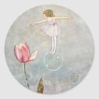 Little Fairy on a Bubble Round Sticker