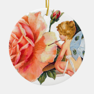 Little Fairy Painting Rose - Personalized Round Ceramic Decoration