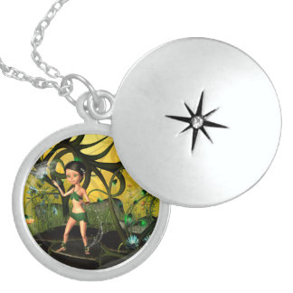 Little fairy playing in a magical forest pendants