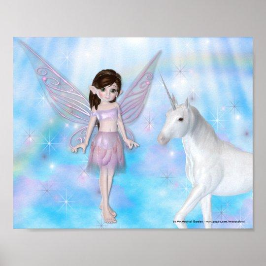 Little Fairy w/Unicorn Fantasy Poster/Print D2 Poster
