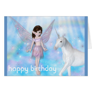 Little Fairy w Unicorn Happy Birthday Card