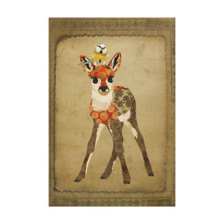 Little Fawn & Bird Canvas Stretched Canvas Prints