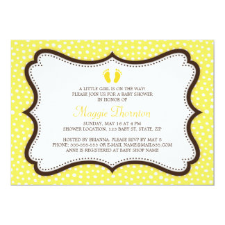 Little feet footprint yellow and brown baby shower 13 cm x 18 cm invitation card