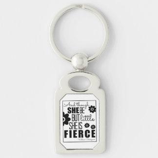 Little & Fierce - Black & White Silver-Colored Rectangle Key Ring