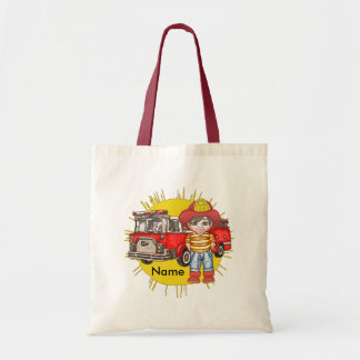 Little Firefighter Name Tote Bags