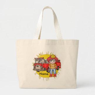 Little Firefighter Name jumbo tote bag