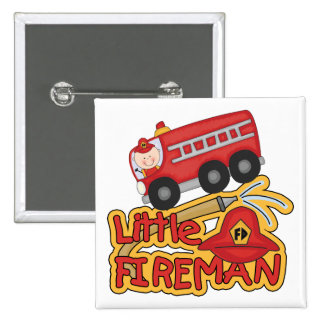 Little Fireman, Caucasian 15 Cm Square Badge