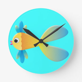 Little Fishy Cartoon Round Clock