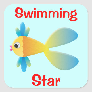 Little Fishy Cartoon Square Sticker