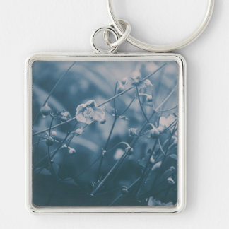 Little Flower (Blue) Silver-Colored Square Key Ring