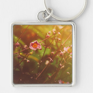 Little Flower Silver-Colored Square Key Ring