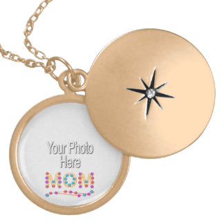 Little Flowers for Mom Text (add photo) Locket Necklace