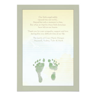 Little Footprints Bereavement Thank You Card 13 Cm X 18 Cm Invitation Card
