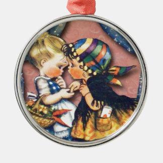 Little Fortune Teller, altered art original Silver-Colored Round Decoration