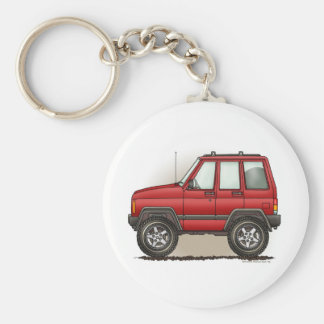 Little Four Wheel SUV Car Basic Round Button Key Ring
