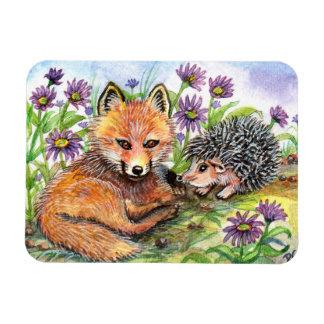 Little Fox And Hedgehog Magnet