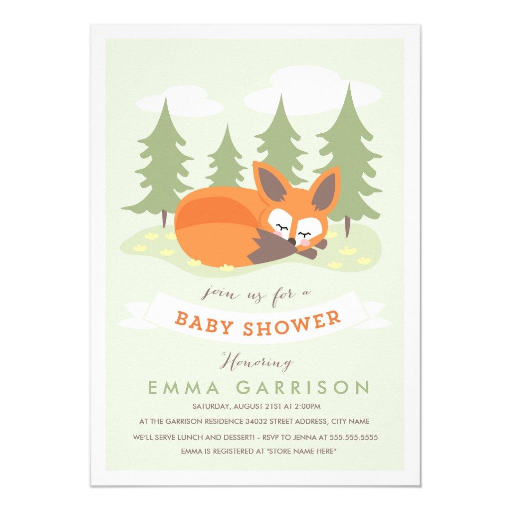 Little Fox Baby Shower Invitation
