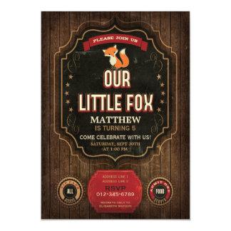 Little Fox Birthday Party Rustic Chalkboard & Wood 13 Cm X 18 Cm Invitation Card