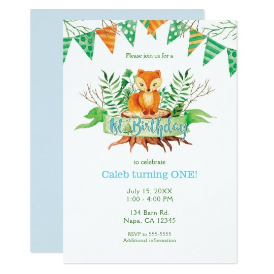 Little Fox Forest Watercolor 1st Birthday Party Card